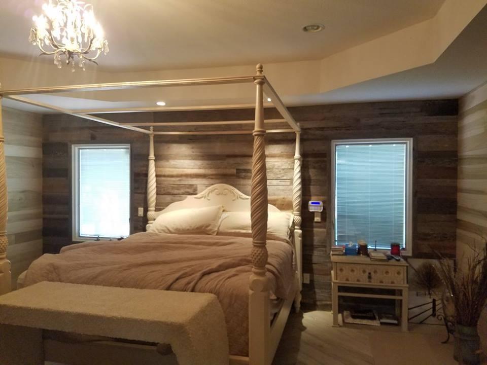 Bedroom Reclaimed Wood Wall Install