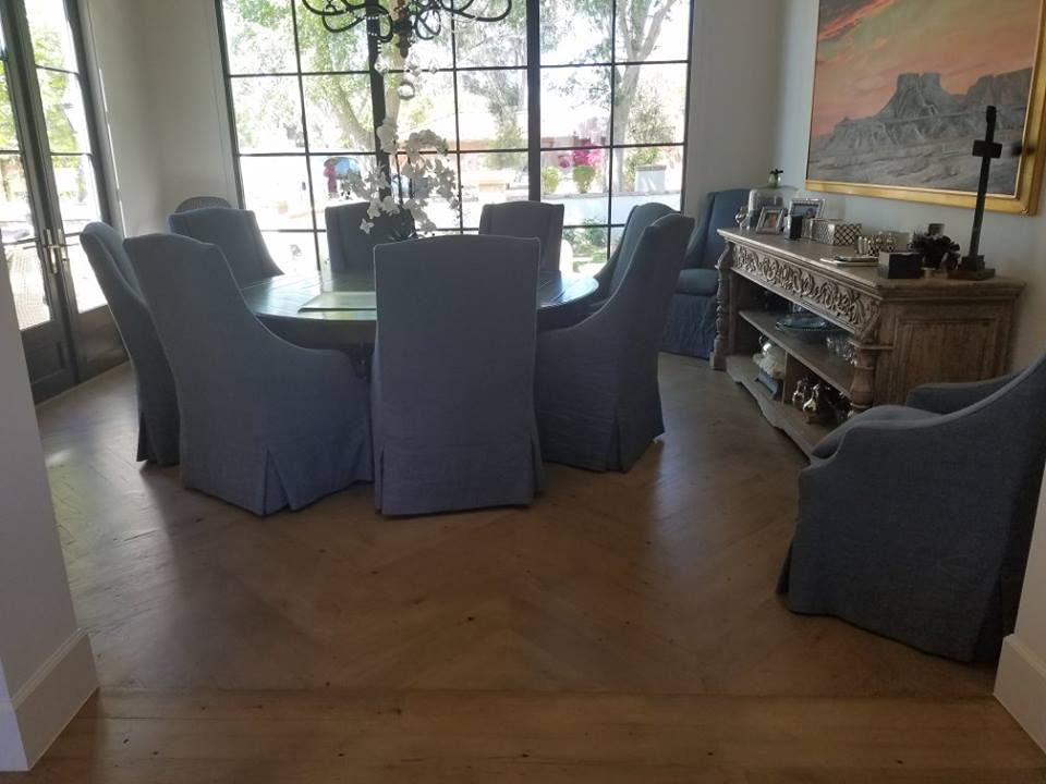 Reclaimed Hardwood Floor Install Dining Room