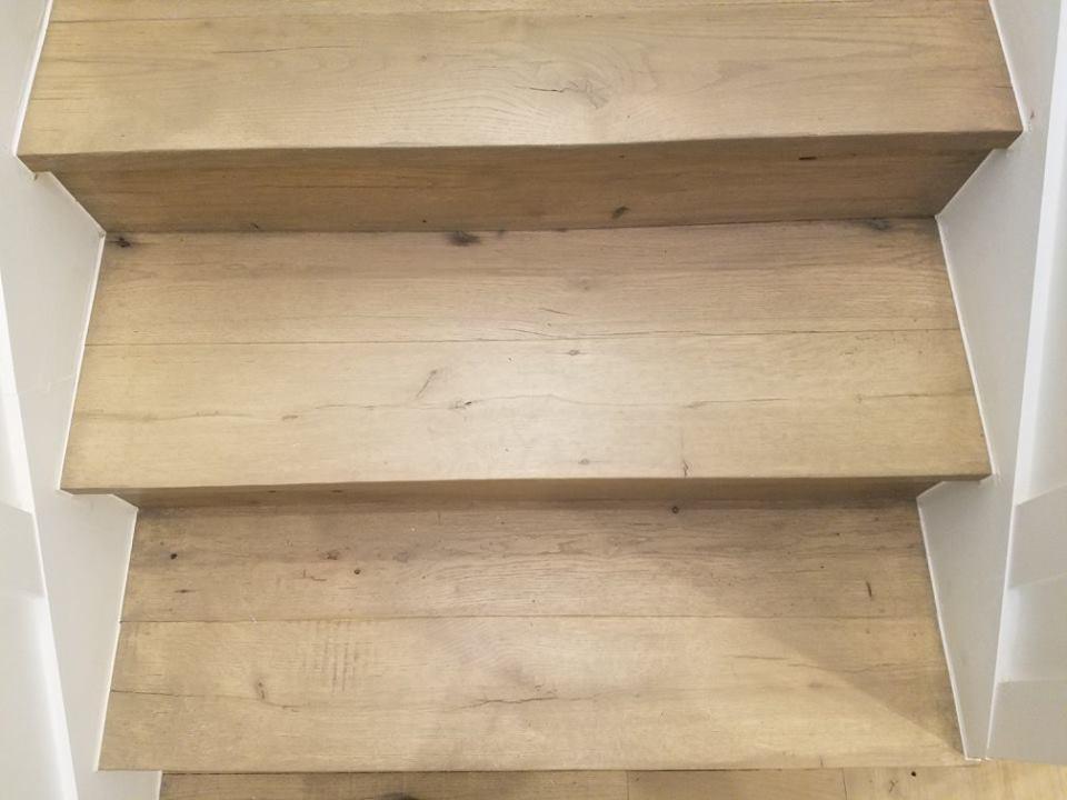Reclaimed Hardwood Floor Install Custom Stairs
