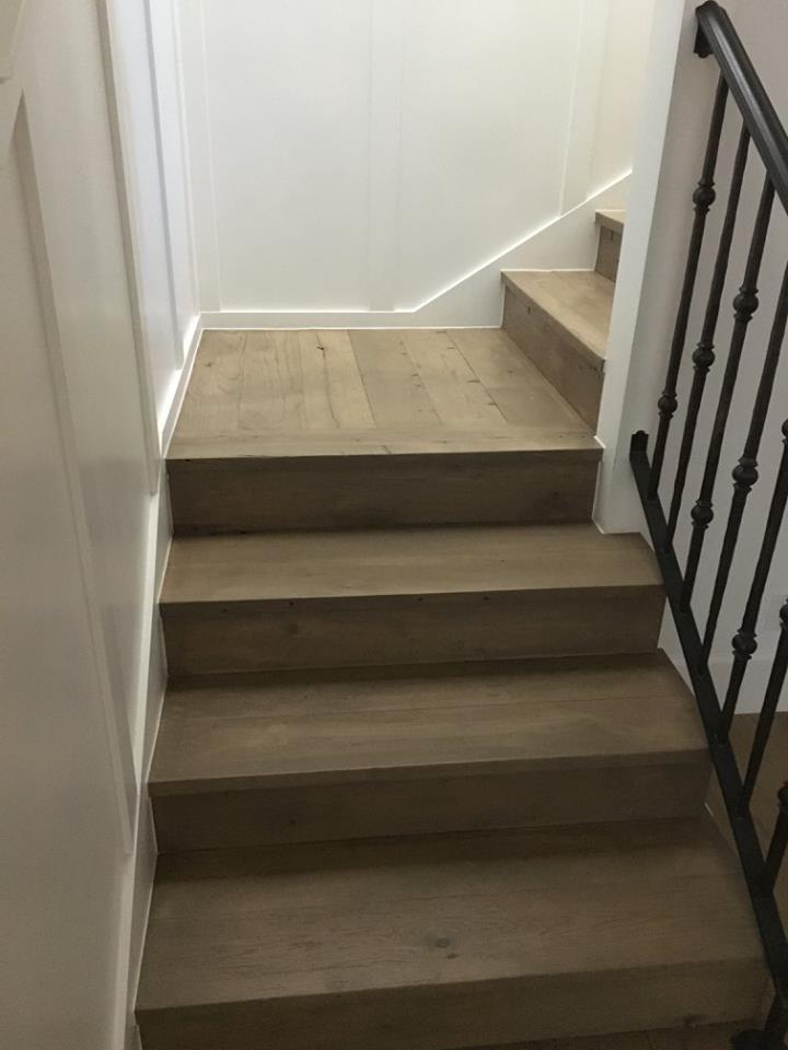 Reclaimed Hardwood Floor Install Stairs