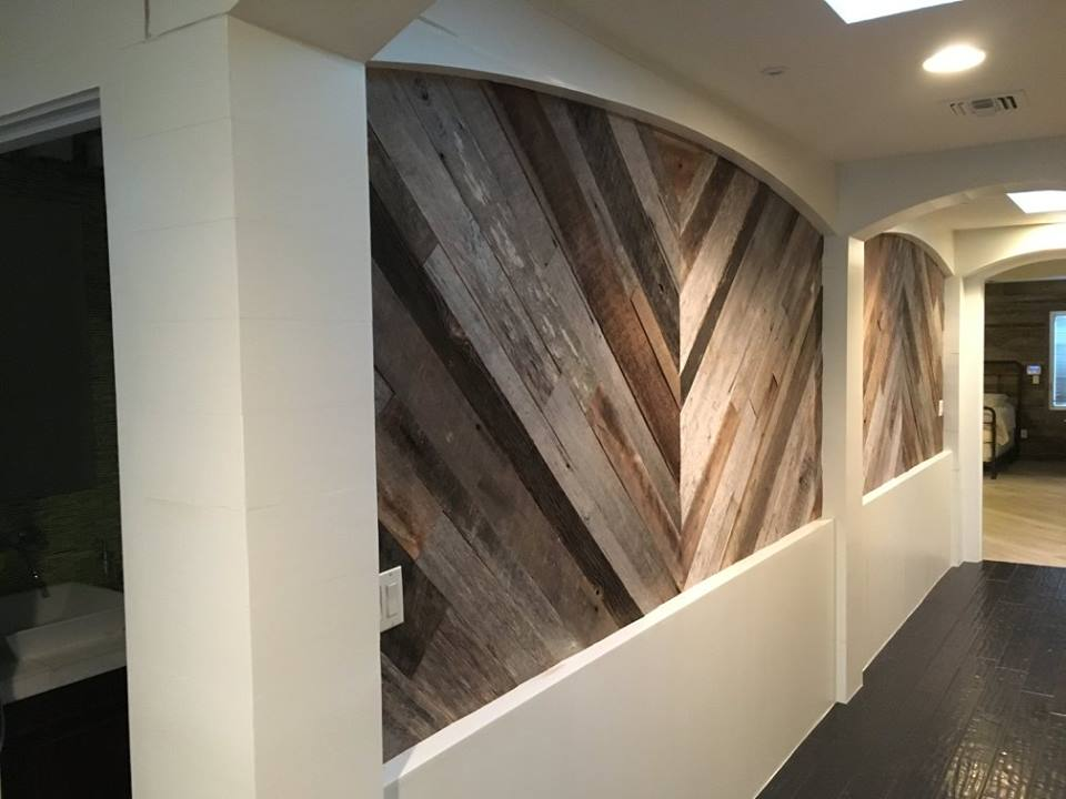 Mixed Wood Species, Browns and Grays, Reclaimed Wood Wall Installation